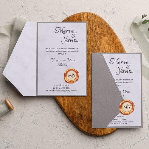 Mühürlü Ucuz Düğün Davetiyesi EKO9183