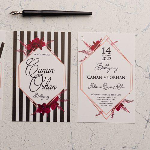 Siyah Beyaz Çizgili Ucuz Düğün Davetiyesi EKO9185