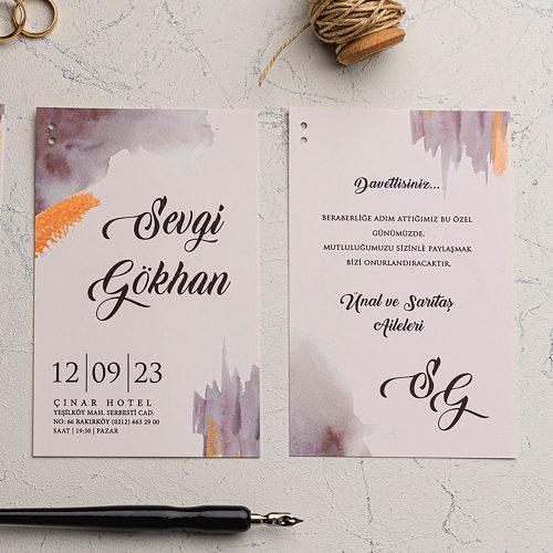 Renkli Ucuz Düğün Davetiyesi EKO9187