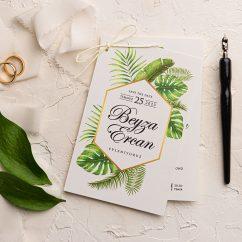Yeşil Yapraklı Ucuz Düğün Davetiyesi EKO9188