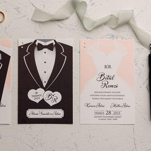 Gelin Damat Temalı Ucuz Düğün Davetiyesi EKO9191