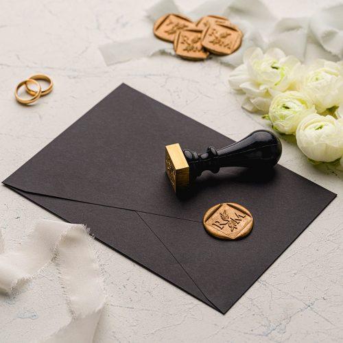 Mühürlü Siyah Düğün Davetiyesi EKO9192