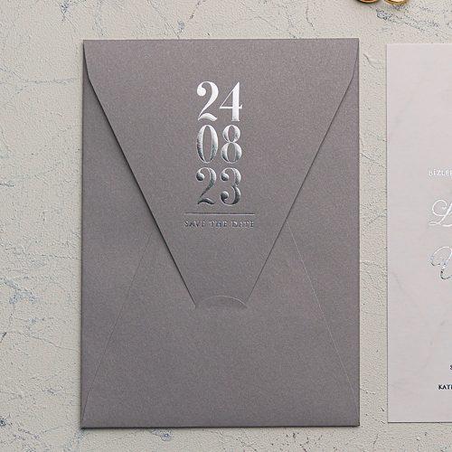 Mermer Desenli Sade Düğün Davetiyesi EKO9194