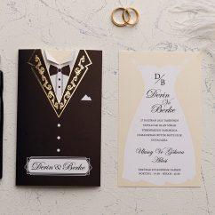 Gelin Damat Ucuz Düğün Davetiyesi EKO9195