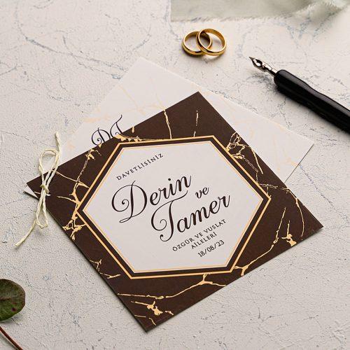 İpli Mermerli Ucuz Düğün Davetiyesi EKO9197