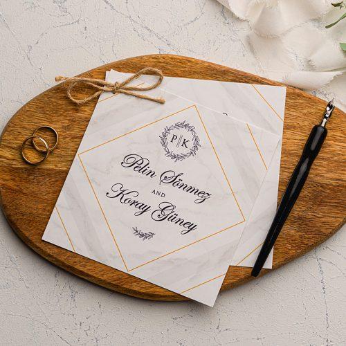 Mermerli Karo Desenli Ucuz Düğün Davetiyesi EKO9201