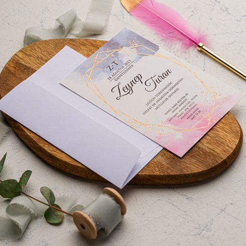 Suluboya Rengarenk Düğün Davetiyesi EKO9203