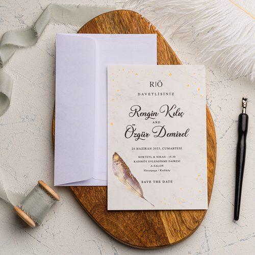 Tüylü Ucuz Düğün Davetiyesi EKO9204