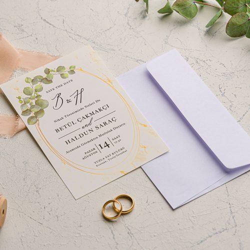 Yapraklı Ucuz Düğün Davetiyesi EKO9205