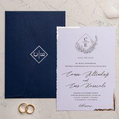 Lacivert Zarflı Düğün Davetiyesi EKO9207