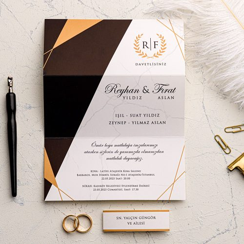 Ucuz Modern Düğün Davetiyesi EKO9208