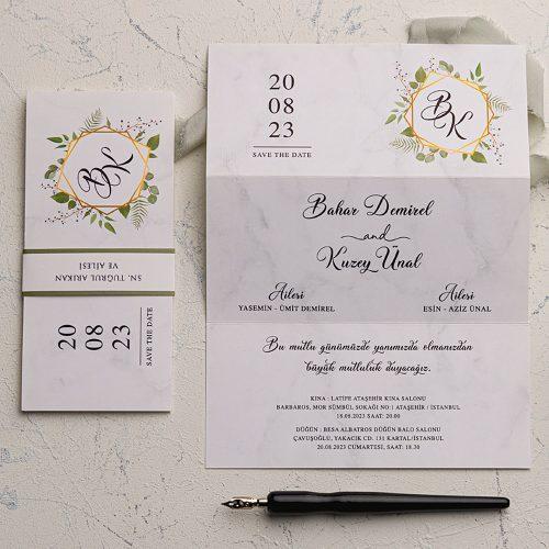 Yapraklı Ucuz Düğün Davetiyesi EKO9209