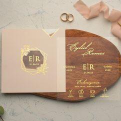 Yaldızlı Şeffaf Düğün Davetiyesi EKO9212