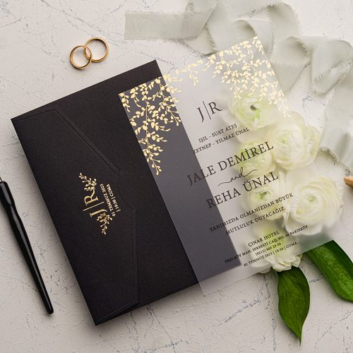 Şeffaf Siyah Düğün Davetiyesi EKO9214