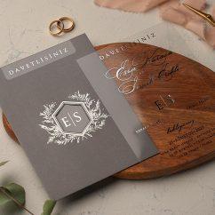 Gümüş Şeffaf Düğün Davetiyesi EKO9217