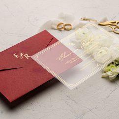 Kırmızı Zarflı Şeffaf Düğün Davetiyesi EKO9219