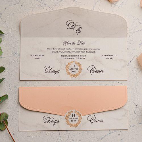 Mermerli Ucuz Düğün Davetiyesi EKO9224