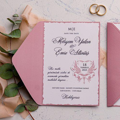 Retro Ucuz Düğün Davetiyesi EKO9225