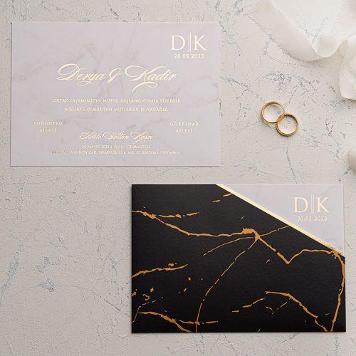 Siyah Altın Desenli Düğün Davetiyesi EKO9228