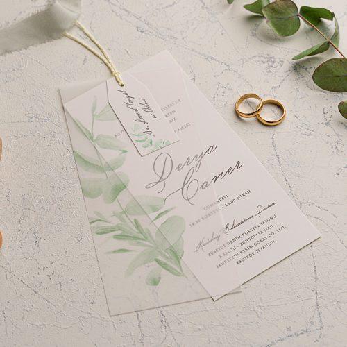 Yaprak Desenli Düğün Davetiyesi EKO9233