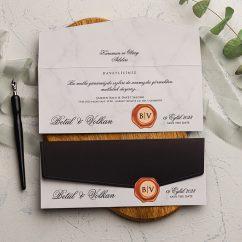 Siyah Ucuz Düğün Davetiyesi EKO9241