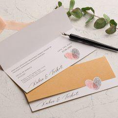 Parmak İzli Ucuz Düğün Davetiyesi EKO9242