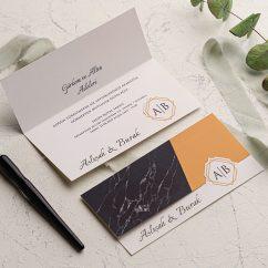 Mermer Desenli Ucuz Düğün Davetiyesi EKO9243