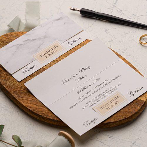 Katlamalı Mermer Ucuz Düğün Davetiyesi EKO9244