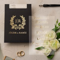 Siyah Zarlı Şeffaf Düğün Davetiyesi EKO9245