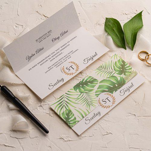 Yeşil Yapraklı Ucuz Düğün Davetiyesi EKO9246