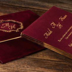 Kadife Kaplı Bordo Düğün Davetiyesi ERD50541
