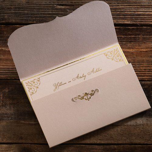 Pembe Zarflı Büyük Lüks Düğün Davetiyesi ERD50549