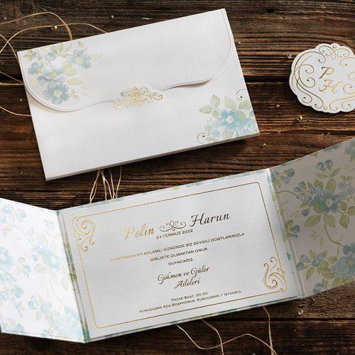 Özel Kutulu Çiçekli Düğün Davetiyesi ERD50561