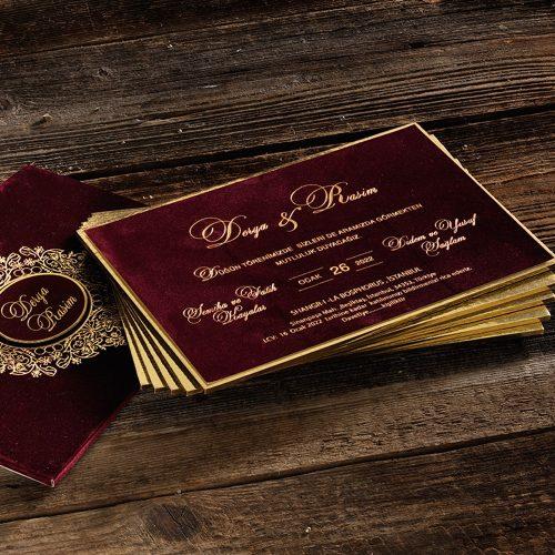 Özel Kadife Çantalı Lüks Düğün Davetiyesi ERD50565