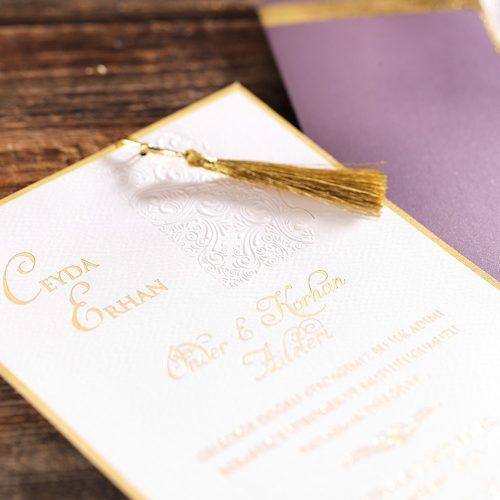 Sade Zarflı Lüks Düğün Davetiyesi ERD50572