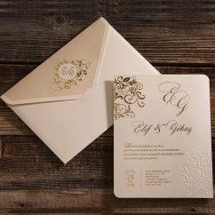 Kabartma Çiçek Motifli Düğün Davetiyesi ERD50576