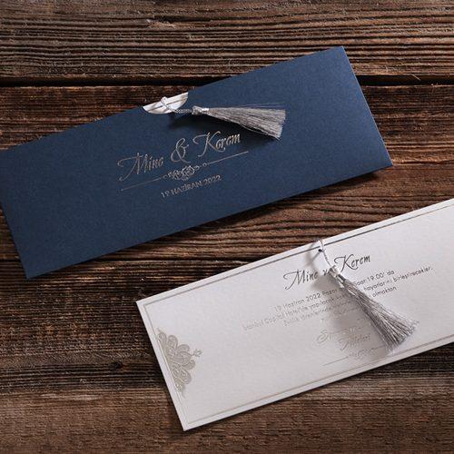 Gümüş Renk Püsküllü Düğün Davetiyesi ERD50585