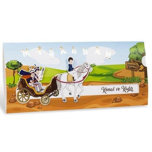 At Arabalı İki Çocuklu Sünnet Davetiyesi 80914