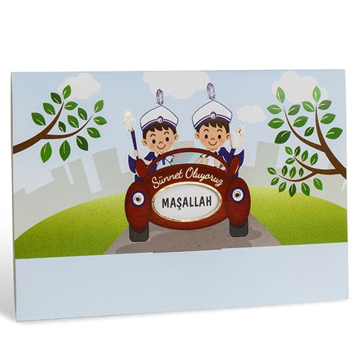 Arabalı İki Çocuklu Sünnet Davetiyesi 80937